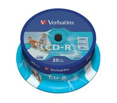 Médium Verbatim CD-R 700MB 80 min 52x Crystal Printable 25-cake