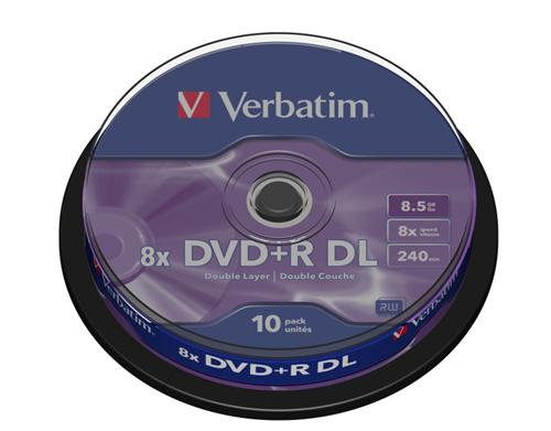 Médium Verbatim DVD+R DL 8,5GB 8x 10-cake